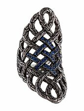 John Hardy Classic Chain Lava Large Saddle Ring Blue Sapphire Sterling Silver 7