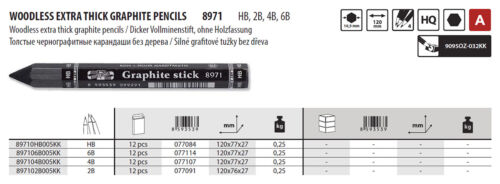 KOH-I-NOOR 8971 HB 2B 4B 6B 10.5MM WOODLESS EXTRA THICK GRAPHITE PENCILS