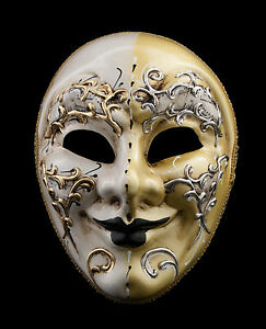 Maschera Di Venezia Giallo E Bianco Crema Per Ballo Sera 1387 V53