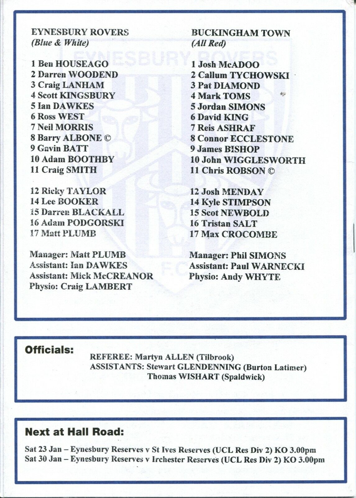 Image 11 - Eynesbury-Rovers-v-Buckingham-Town-16-01-10-United-Counties-League-Division-1