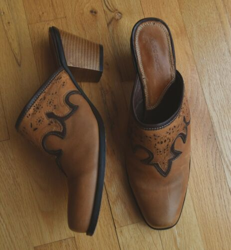 Women's Sonora Western Leather Slides Mules Cowboy