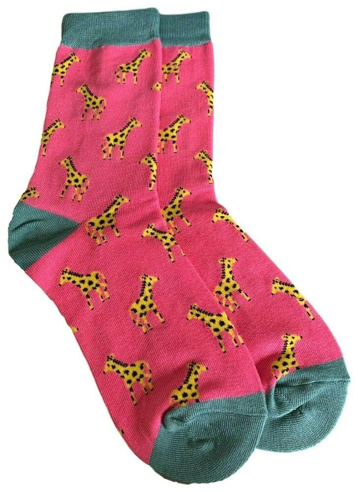 Giraffe Chaussettes Femmes Rose Chaud Bleu Jaune Girafes Mignon Bambou Coton Mélangé