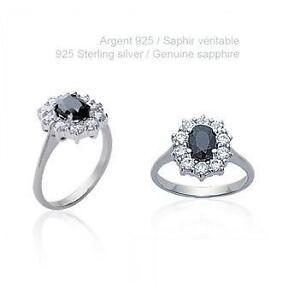 86849509f8f Bague Rhodié T50 Princesse Marquise dun Véritable Saphir Argent 925 ...
