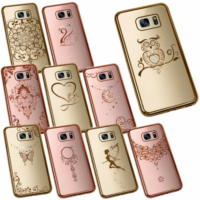 sports shoes 1c72f df5f6 Slim Crystal Chrome Edge Bling Diamante Rhinestone TPU Silicone Phone Case  Cover Samsung Galaxy S7 Butterfly Rose Gold