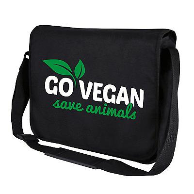 Go Vegan Save Animals Veganer Schwarz Motiv Sprüche Umhängetasche Messenger Bag