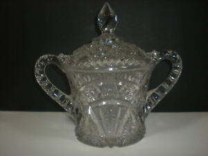 Learned 1800's Eapg Cracker Biscuit Jar Covered Lid Brilliant Glass Sawtooth Fan Stars Decorative Arts Pottery & Glass