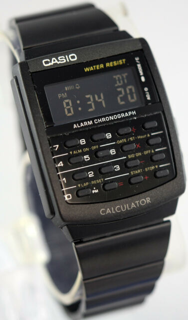 Casio CA506B-1A Black Stainless Steel Calculator Watch BLACKOUT Vintage New