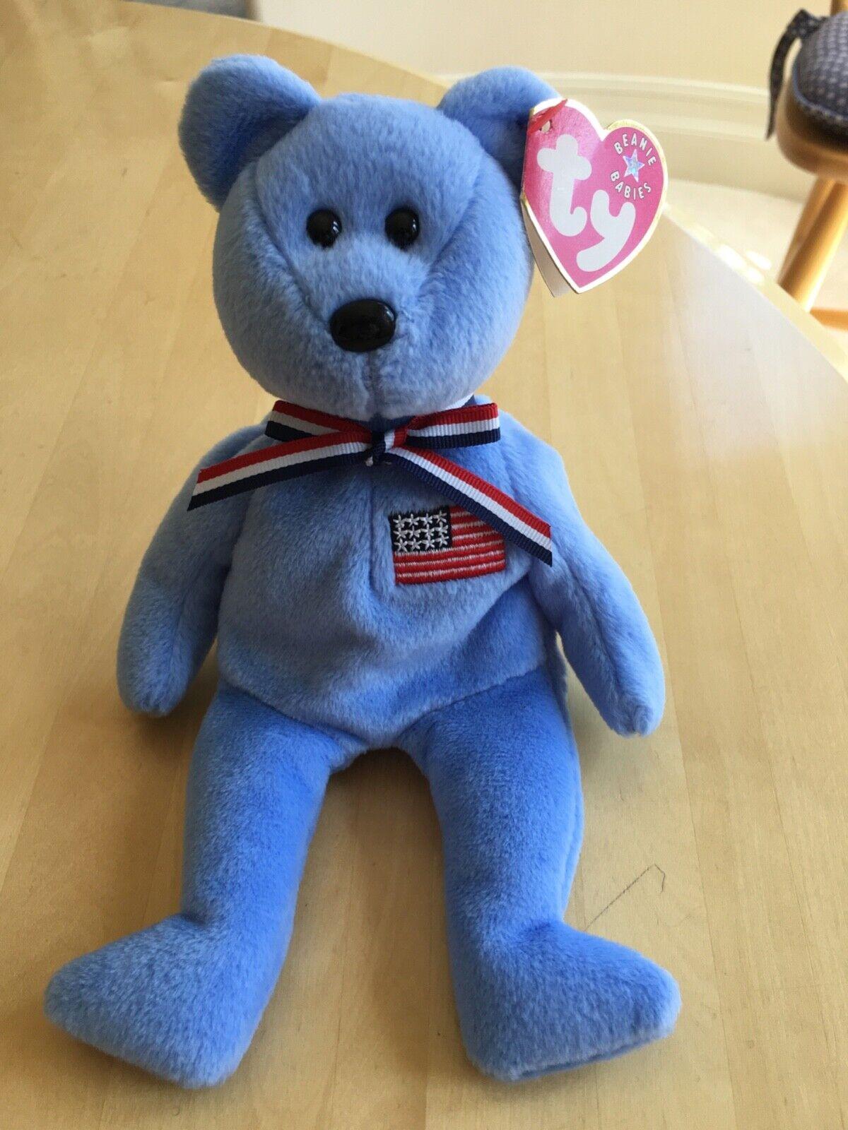 RARE AMERICA ty Beanie Baby 911 bluee Memorial Bear, September 11, 2001