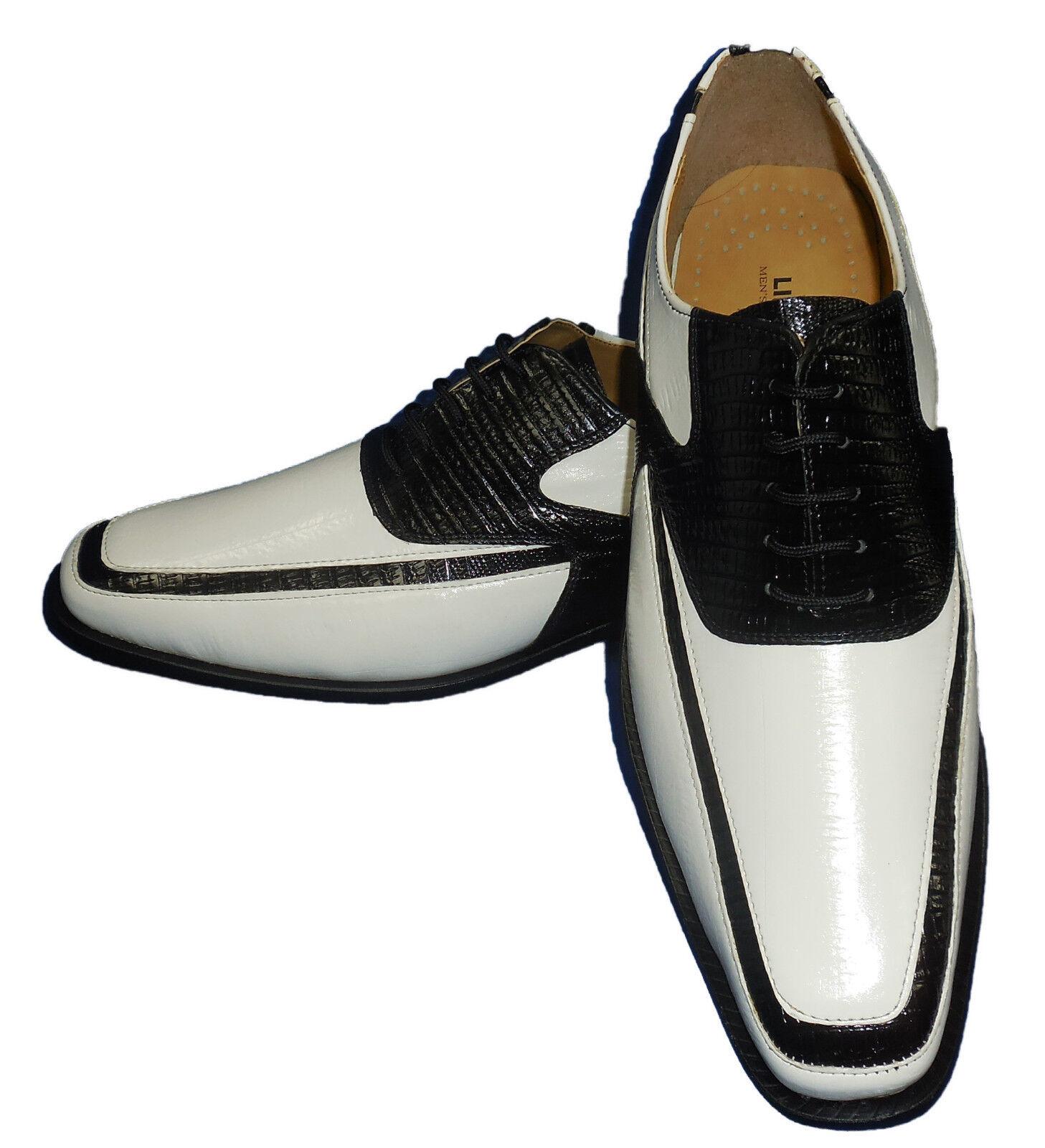 consegna rapida Liberty Liberty Liberty LS1108 Uomo Modern Spectator Spats Dress scarpe Eggshell bianca + nero  basso prezzo del 40%
