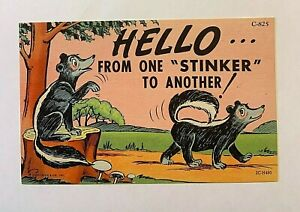 """VINTAGE 1930-45 Comic """"HELLO From One Stinker To ANOTHER !"""" LINEN PC 1226"""