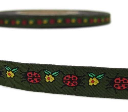 """2 Yd Ladybug Lady Bug Flower Green Woven Jacquard Ribbon Trim 1//2/""""W"""