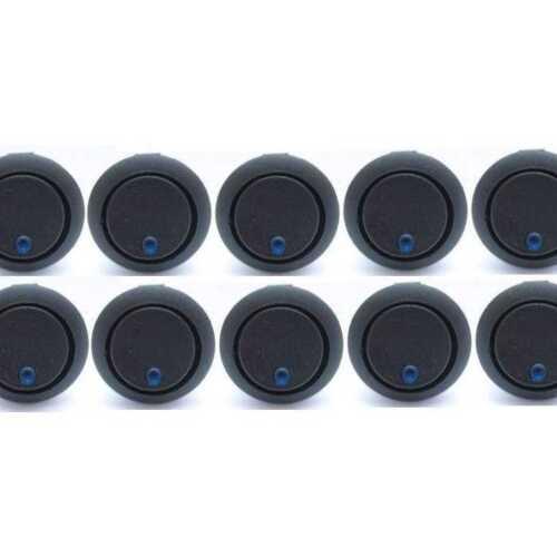 10 x 12V LED AUTO CAR 10AMP ON//OFF BLUE ILLUMINATED ROCKER SWITCH DASHBOARD SH15