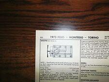 1973 Ford & Mercury Code H 351 (W) CI V8 2BBL SUN Tune Up Chart Great Shape!