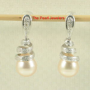 14k-White-Gold-Sets-6-Sparkling-Diamonds-Peach-Pearl-Dangle-Stud-Earrings-TPJ