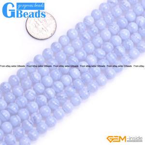 Natural Stone Blue Chalcedony Gemstone Round Beads Free