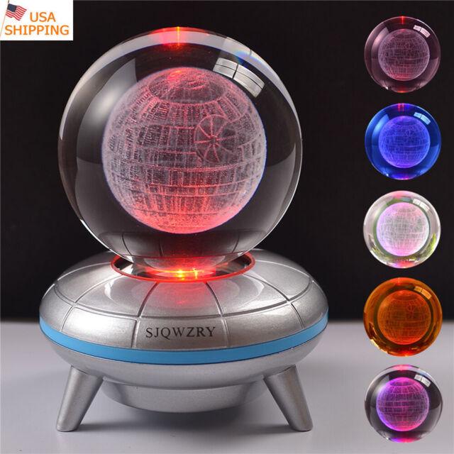 3D LED 8cm Crystal ball Star Wars Death Star Night Light Table Desk Lamp Gift