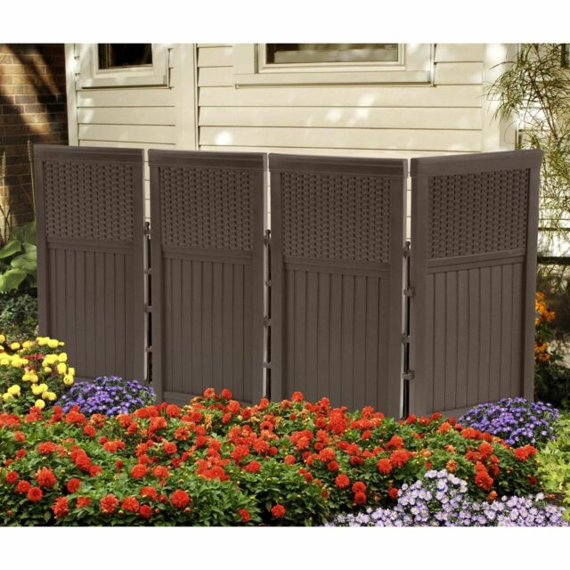 Outdoor Privacy Screen Panels Fence Divider Hide Air System Trash Can  Wicker S