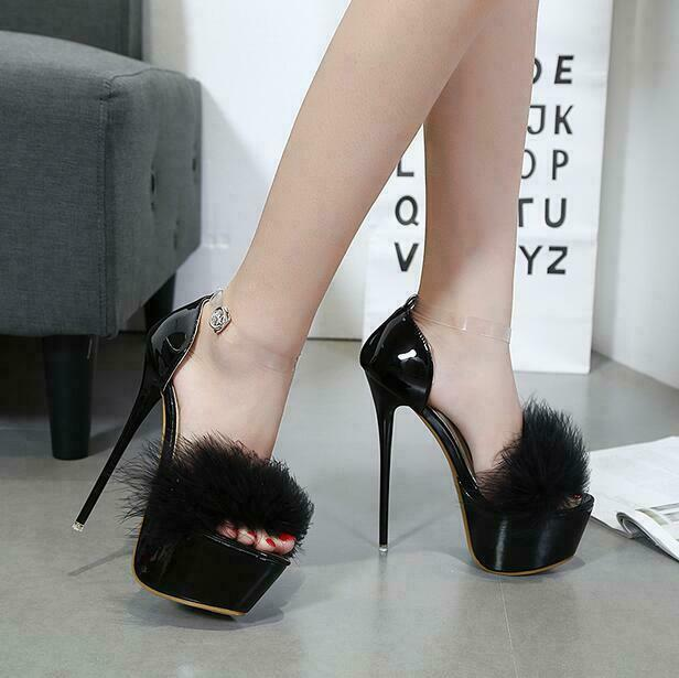 Sexy Sexy Sexy Womens Fur Trim Peep Toe Ankle Strap Stiletto Dance Party shoes High Heels 0605c5