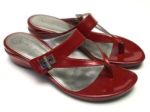 Marc-Fisher-Women-039-s-Size-9-Red-Patent-Thong-Sandals-Silver-Metallic-Logo