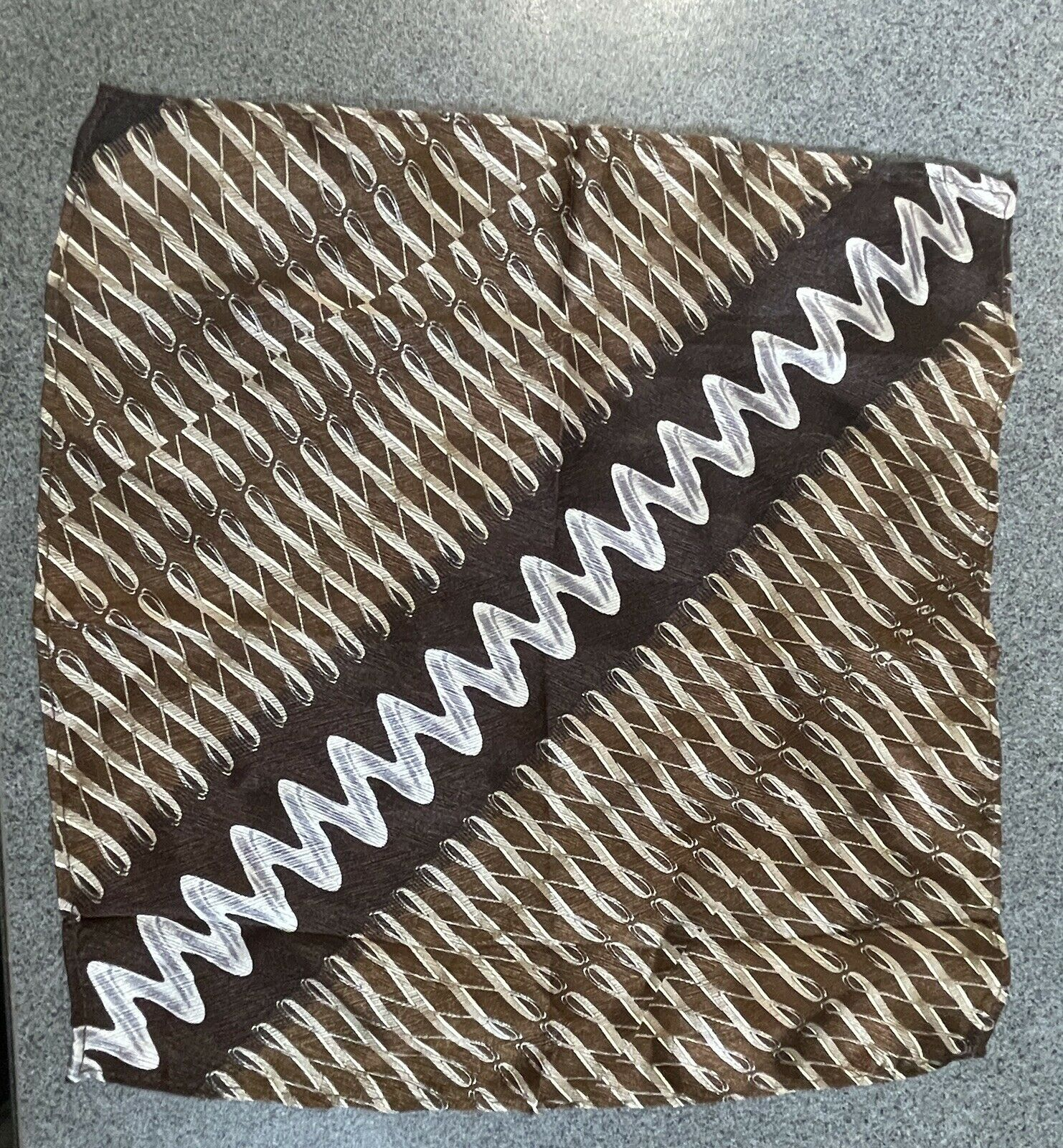 100% Silk Handkerchief Pocket Square Various Shades Of Brown w/ Squiggly Lines
