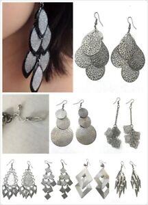 Womens-Girls-Metallic-Dark-Grey-Gun-Metal-Fashion-Earrings-Pierced-or-Clip-On