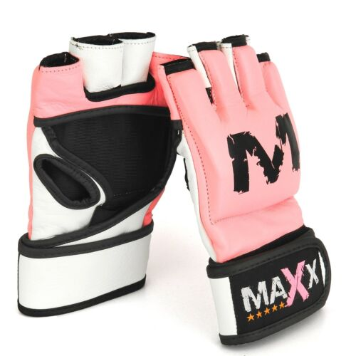Maxx Leather Gel Tech UFC MMA Punch Bag Grappling Gloves Fight Boxing Gloves PIN