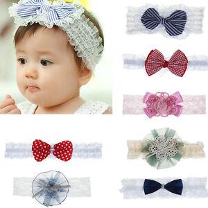 086d9db2dde Baby Girls Lace Flower Hair Band Kid Elastic Cotton bow Headwear ...