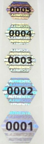 Qty 100 to 1000 Pre-Numbered Hexagon Silver Tamper Evident Hologram Labels Seals