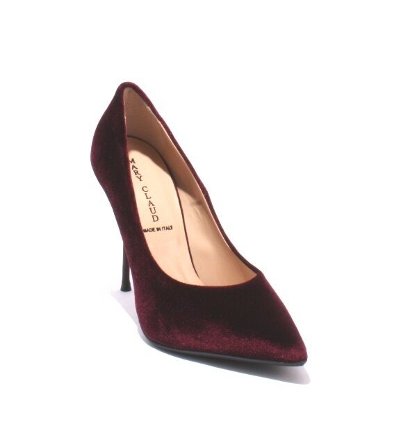 Mary Claud 8054a Burgundy Velour   Leather Pointy Metal Heel Pumps 36   US 6