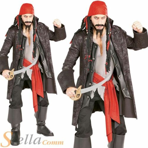 Mens Captain Jack Sparrow Caribbean Cutthroat Pirate Fancy Dress Costume Outfit