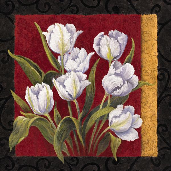 Linda Wacaster  Classique II Keilrahmen-Bild Leinwand Tulpen Blaumen Komposition