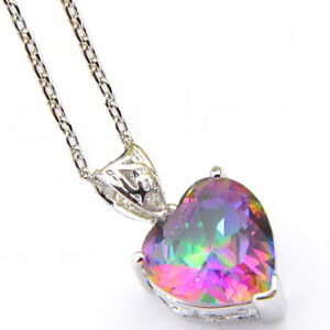 Woman-Jewelry-Love-Heart-Vintage-Style-Mystic-Topaz-Silver-Necklace-Pendant-H484