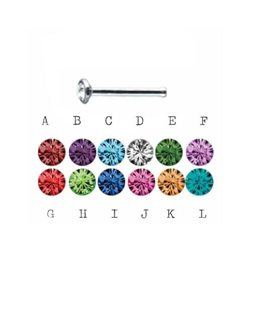 16G Nose Bone ONE (1) Bezel Set Birthstone Colors NEW ring stud stainless steel