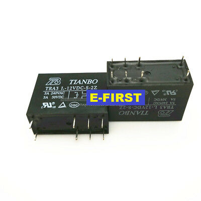 5//10//20PCS TIANBO RELAY TRA3 L TRA3L-12VDC-S-2Z 5A 240VAC 30VDC