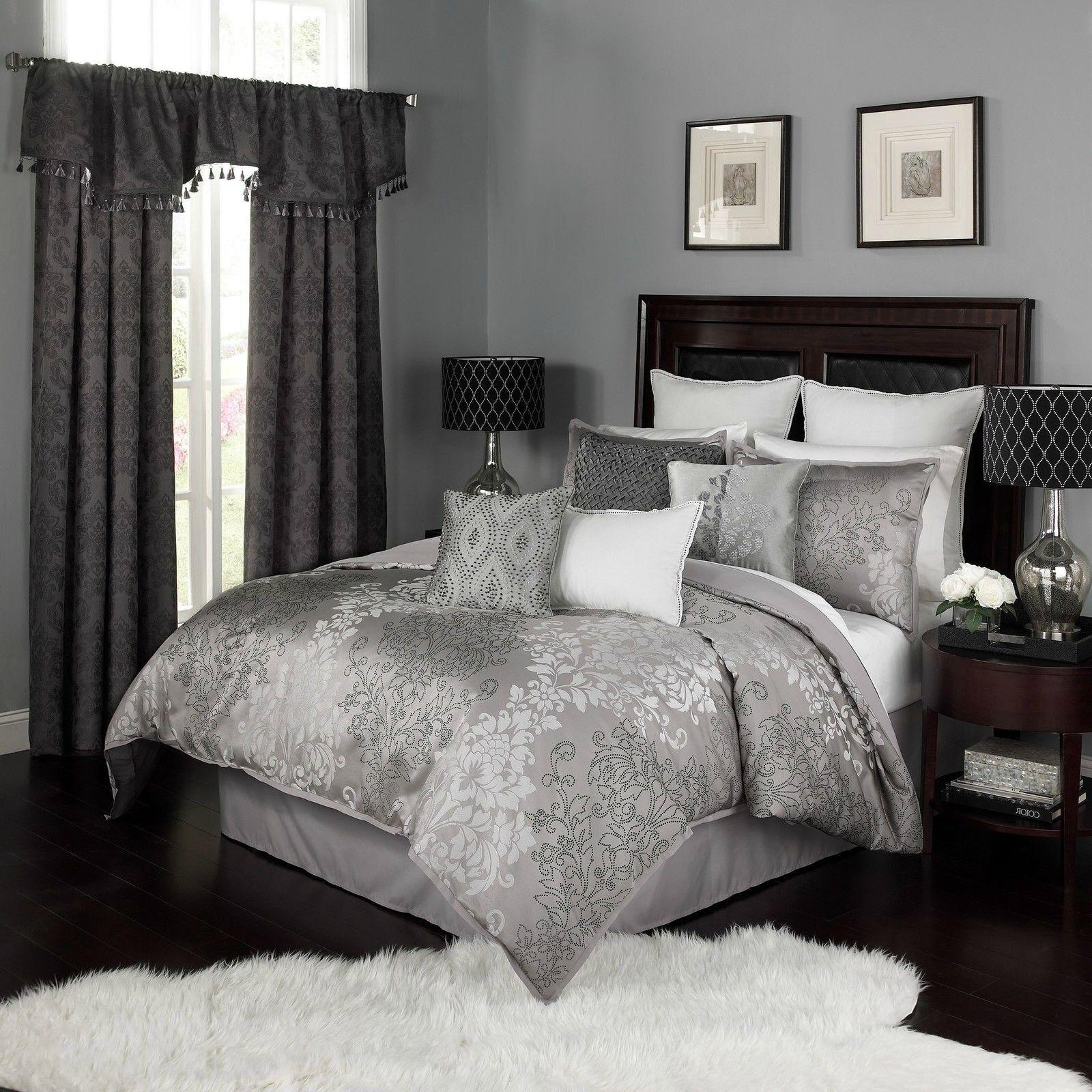 Elegant Jacquard Silber grau Damask Comforter 4 pcs King Queen Bedding Set