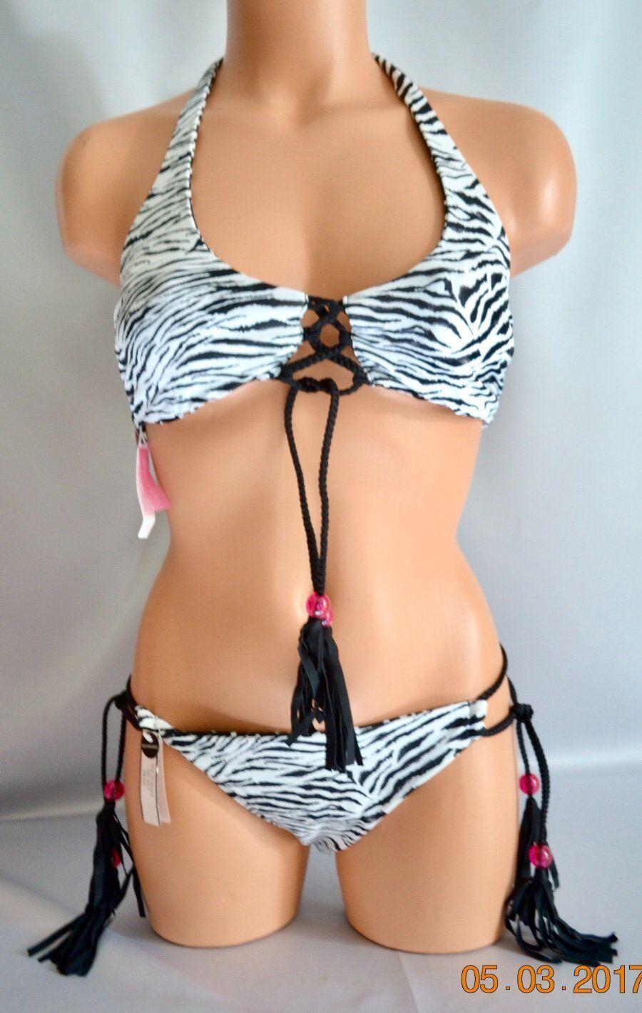 Victorias Secret SEXY REVERSABLE Lace Up Tassels Surf Bikini Swim S NWT