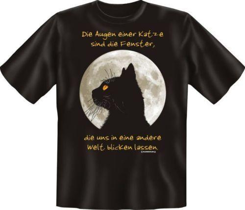 geil bedrucktes Fun T-Shirt Shirts Geburtstag Geschenk Die Augen einer Katze
