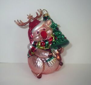 Blown-Glass-CHRISTMAS-ORNAMENT-PIG-DISGUISED-AS-RUDOLPH-RED-NOSED-REINDEER