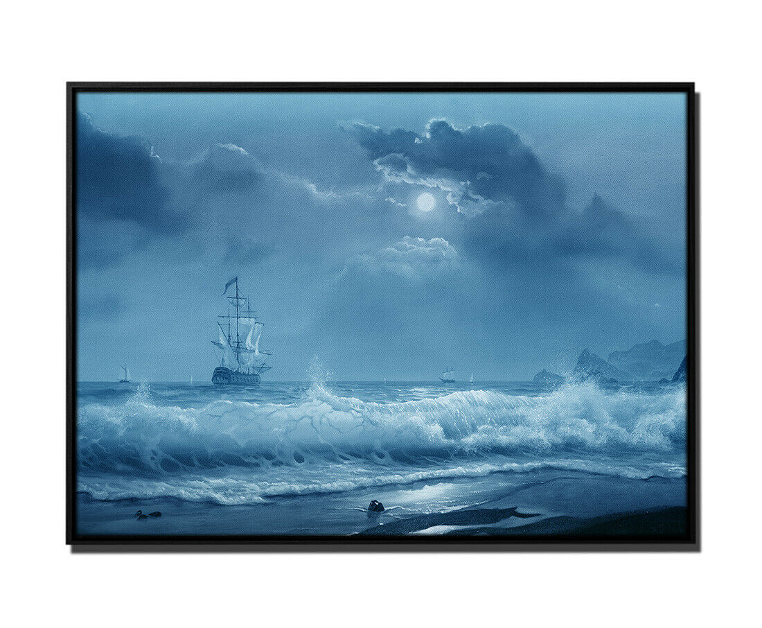105x75cm Leinwandbild Petrol Ölgemälde SegelStiefel Wellen