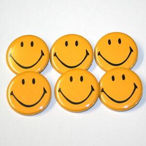 SMILEY-FACE-BADGES-x-6-badge-set-lot-buttons-pins-smile-faces-smilies