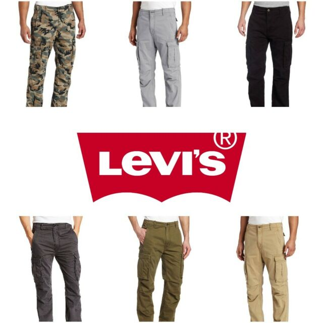 various styles exquisite style men/man Levis Mens Twill Cotton Relaxed Fit Ace Cargo Pants Green Gray Black Beige  Khaki