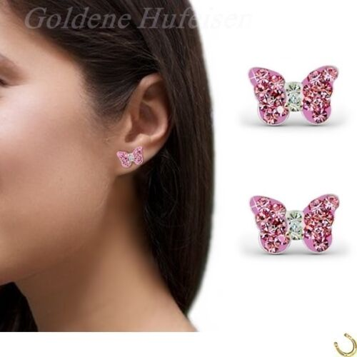 Mädchen Kristall Schmetterling Ohrstecker 925 Silber Ohrringe Geschenkidee gh-1a