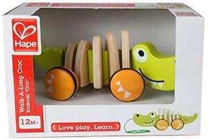 Détails sur Hape Walk a long Crocodile (Tirer) en bois, jouet, instrument de musique afficher le titre d'origine