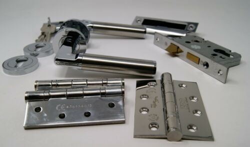 Milan Handle Pack PC//SS Cylinder /& Turn With Hinges For 44//45MM FIRE DOOR FD30