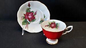 Royal-Standard-England-Fine-Bone-China-Rose-Flower-2665-Z665-Red-Cup-amp-Saucer