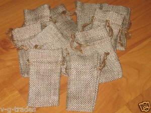 LOT OF 30 Linen Burlap Style Drawstring Pouch Wedding Party Favor Bags 1X3 2X3