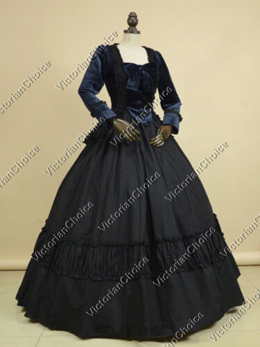 Steampunk Dresses and Costumes Victorian Velvet Dress Steampunk Reenactment Halloween Vampire Costume NAVY 134 $109.00 AT vintagedancer.com