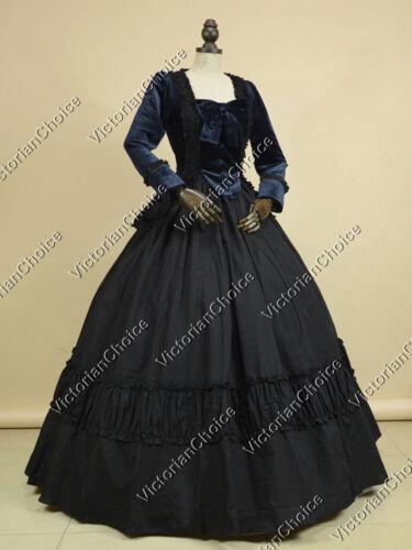 Victorian Dresses- Patterns, Costumes, Custom Dresses Victorian Velvet Dress Steampunk Reenactment Halloween Vampire Costume NAVY 134 $109.00 AT vintagedancer.com