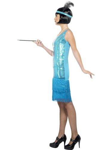Ladies Charleston Flirty Flapper Fancy Dress Costume Teal 20s 30s Gatsby Outfit