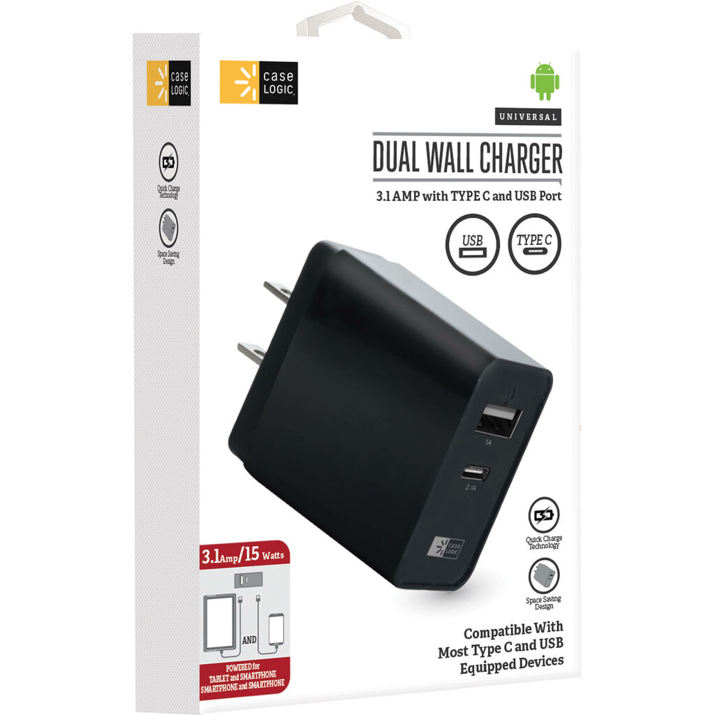 Case Logic 3.1A Dual USB Type-A & USB Type-C Wall Charger - Black  | eBay